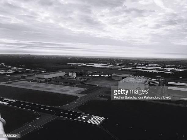 High Angle View Of Amsterdam Schiphol Airport Against Sky
