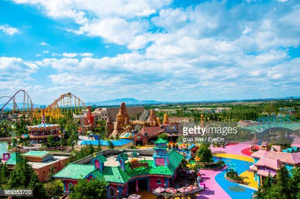 high angle view of amusement park - amusement park stock pictures, royalty-free photos & images