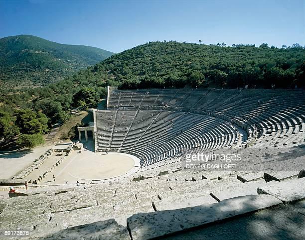 High angle view of an amphitheater Epidaurus Peloponnese Greece