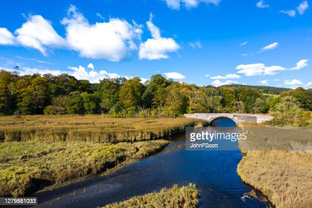 high angle view of an old stone bridge crossing a small river in dumfries and galloway south west scotland - johnfscott stock pictures, royalty-free photos & images