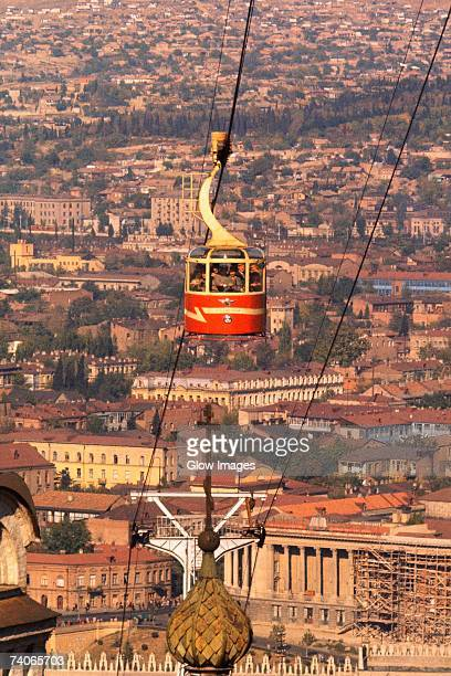 High angle view of an overhead cable car over the city, Tbilisi, Georgia