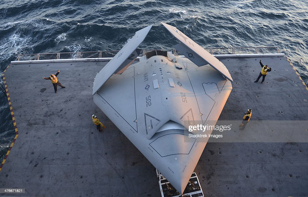 High angle view of an Unmanned Combat Air System. : Stock Photo