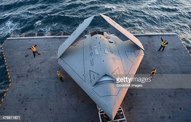 high angle view of an unmanned combat air system. - military drones stock photos and pictures