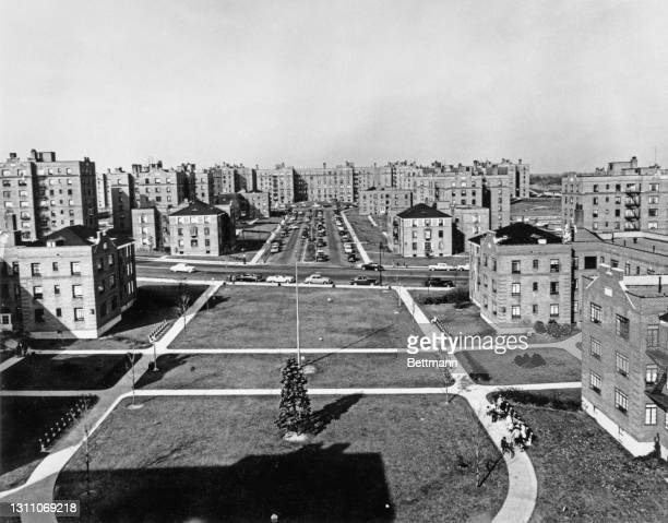 High angle view of an unspecified housing development in the Flushing neighbourhood in the Queens borough of New York City, New York, circa 1955.