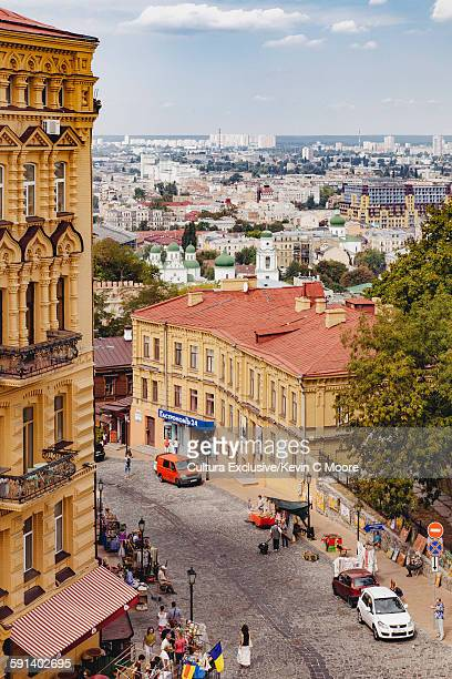 high angle view of andriyivskyy descent, kiev, ukraine - kiev stock pictures, royalty-free photos & images