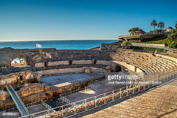High Angle View Of Anfiteatro De Tarragona Against Sea