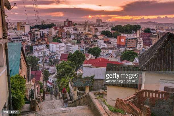 high angle view of antananarivo at sunset - antananarivo stock photos and pictures