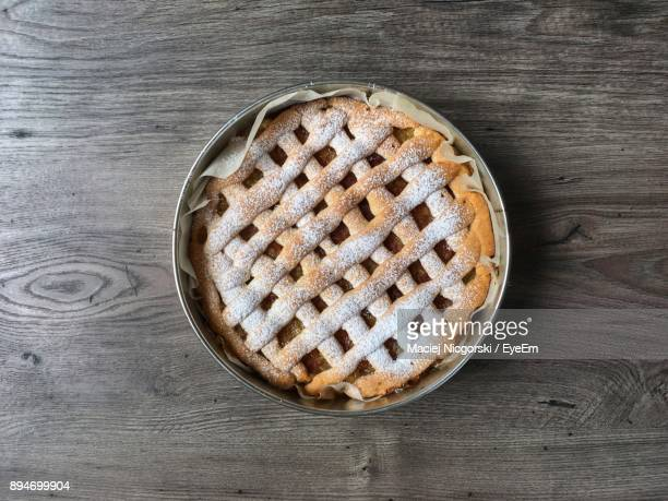 High Angle View Of Apple Pie On Table