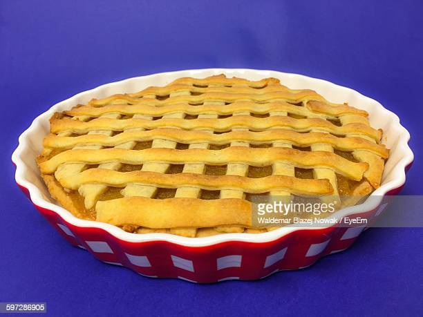 high angle view of apple pie served in plate on table - パイ ストックフォトと画像