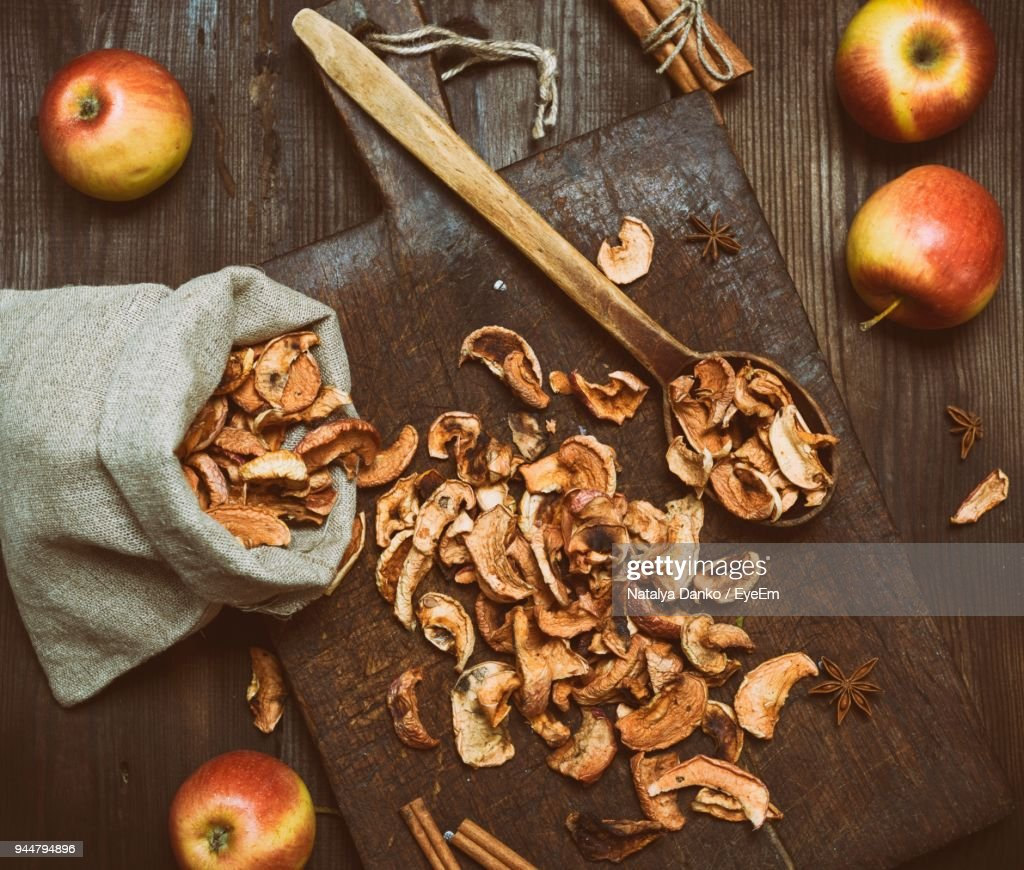 High Angle View Of Apples On Table : Stock Photo