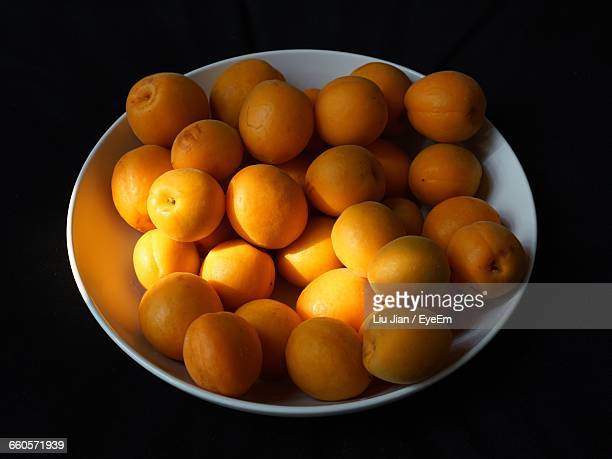 High Angle View Of Apricots In Bowl