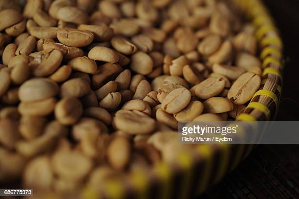 High Angle View Of Arabica Coffee Beans In Container