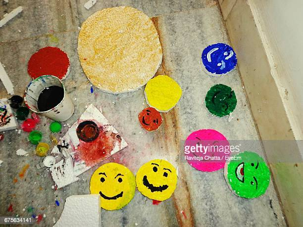 High Angle View Of Art Products In Art Studio