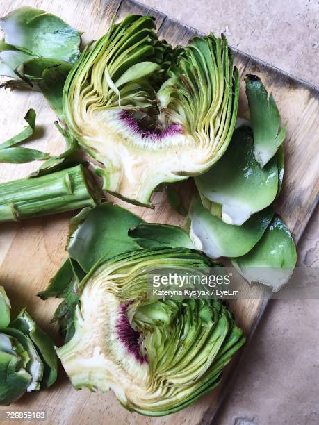 High Angle View Of Artichoke On Table