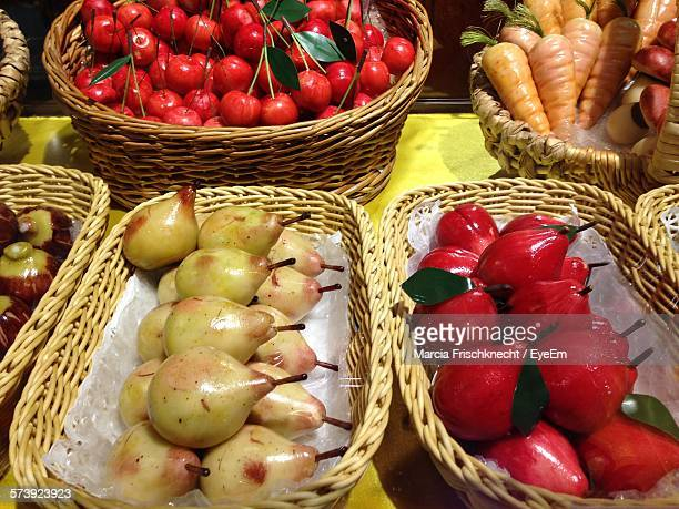 High Angle View Of Artificial Fruits And Vegetables On Table