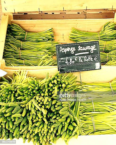 high angle view of asparagus in crates - hauts de france stock photos and pictures