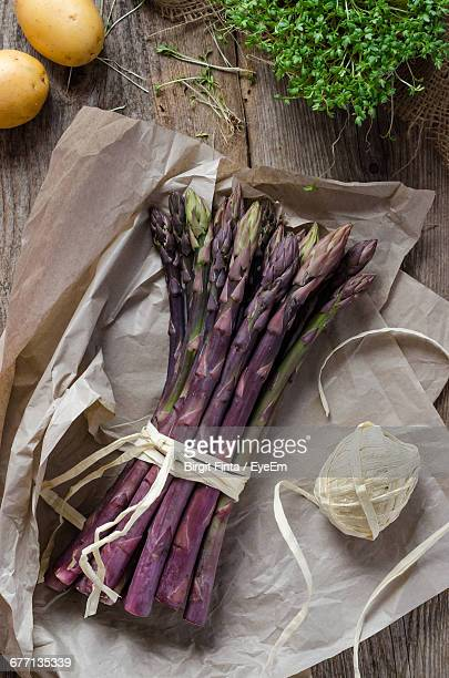 High Angle View Of Asparagus On Table