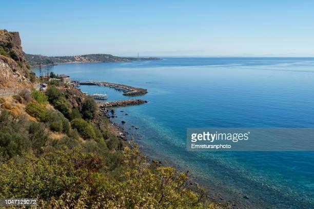 High angle view of Assos marina and Aegean sea.