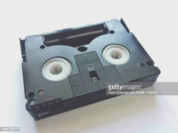 High Angle View Of Audio Cassette On Table
