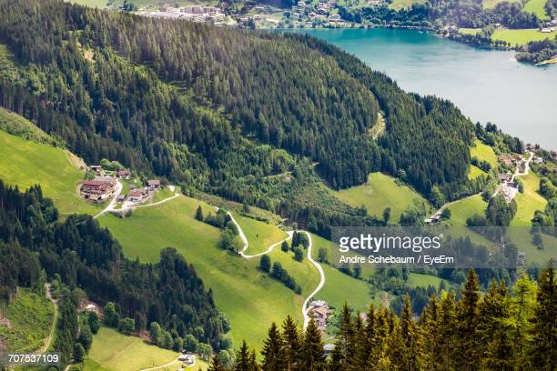 High Angle View Of Austrian Rural Landscape
