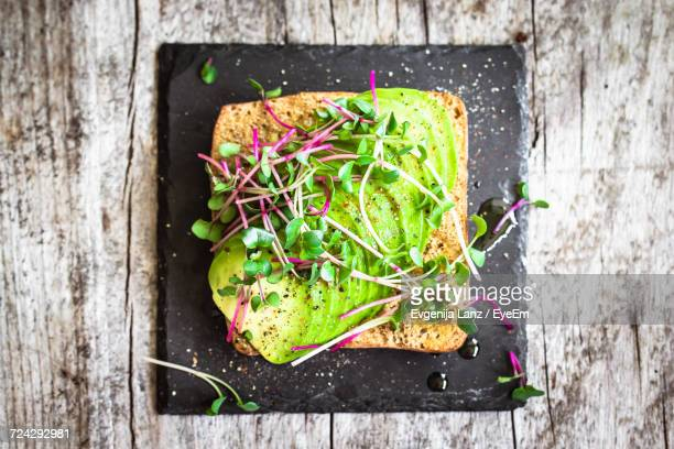 High Angle View Of Avocado Sandwich