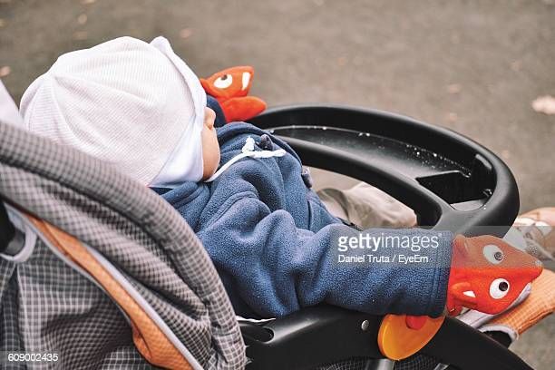 High Angle View Of Baby In Carriage