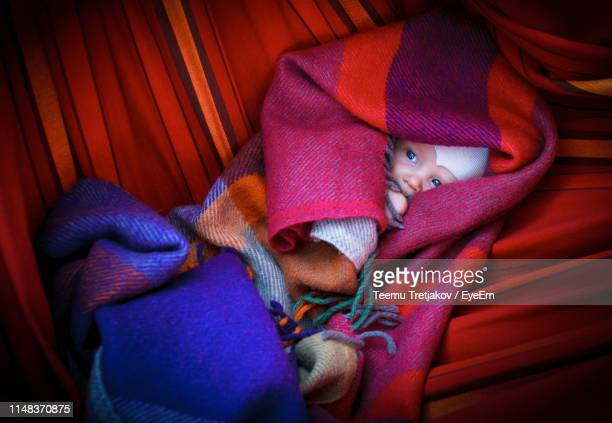 high angle view of baby wrapped in blanket lying on bed at home - teemu tretjakov stock pictures, royalty-free photos & images