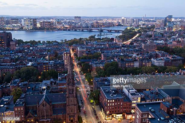 high angle view of back bay boston, berkeley street and the charles river at dusk, boston, massachusetts, usa - cambridge stock pictures, royalty-free photos & images