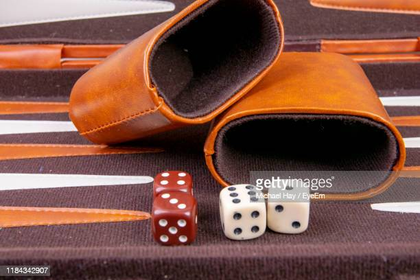 high angle view of backgammon game table - backgammon stock pictures, royalty-free photos & images