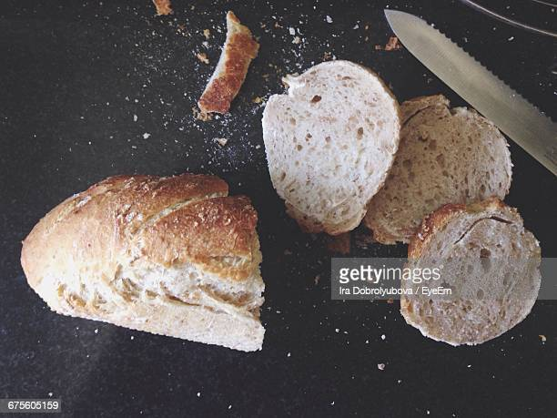 High Angle View Of Baguette Slices On Table