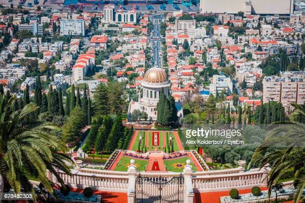 High Angle View Of Bahai Gardens And Cityscape