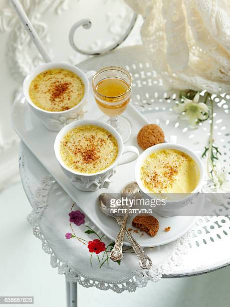 High angle view of baked custards in teacups on tray