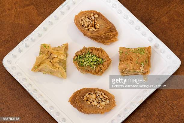 High Angle View Of Baklavas In Plate On Table