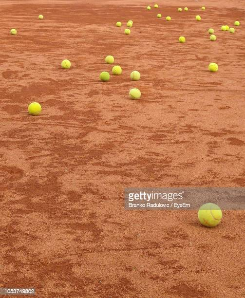 High Angle View Of Balls On Playing Field