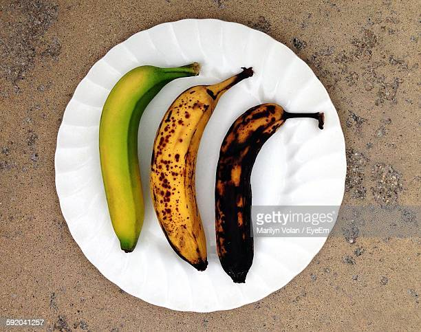 High Angle View Of Bananas In Plate