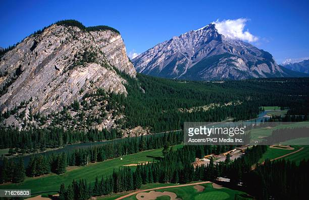 High angle view of Banff Springs Golf Course, Banff National Park, Canada