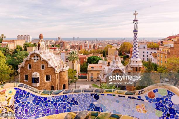 high angle view of barcelona skyline, catalonia, spain - barcelona spain stock pictures, royalty-free photos & images