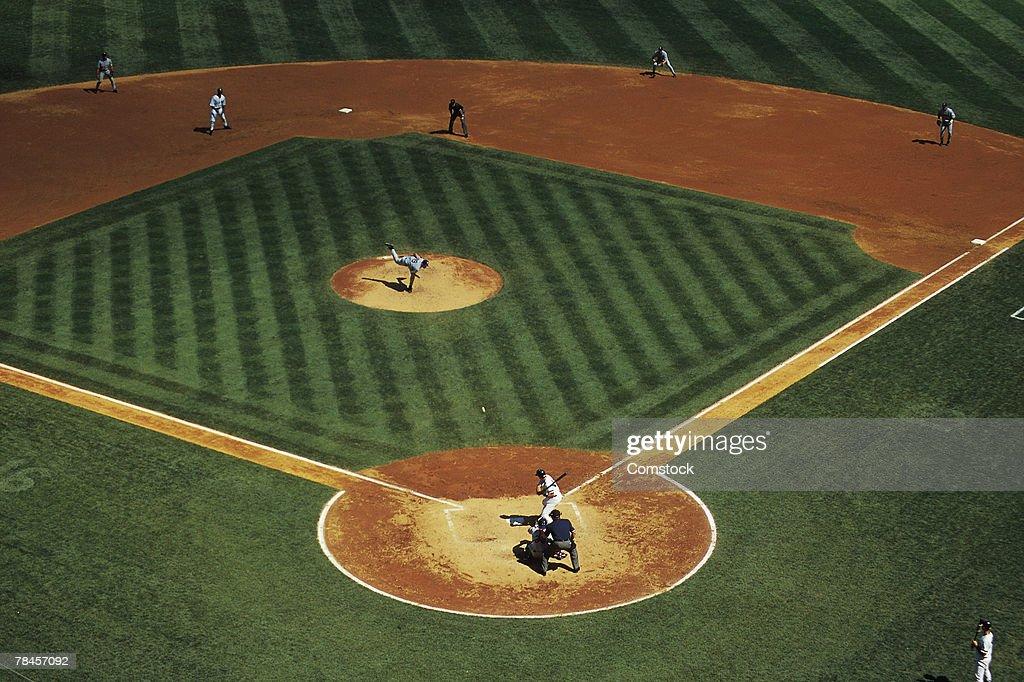 High angle view of baseball game : Stock Photo