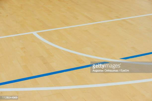 high angle view of basketball court - basketball court stock pictures, royalty-free photos & images