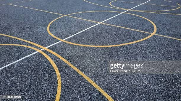 high angle view of basketball court - 路面表示 ストックフォトと画像
