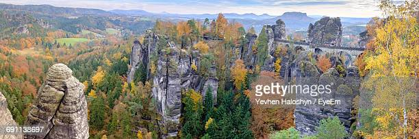 High Angle View Of Bastei Bridge At Elbsandstein Mountains During Autumn