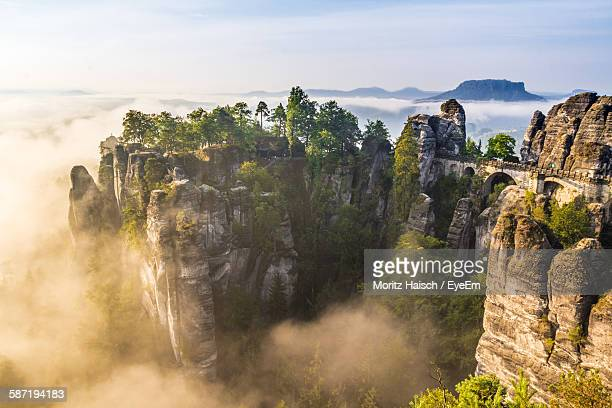 high angle view of bastei during foggy weather - saxony stock pictures, royalty-free photos & images