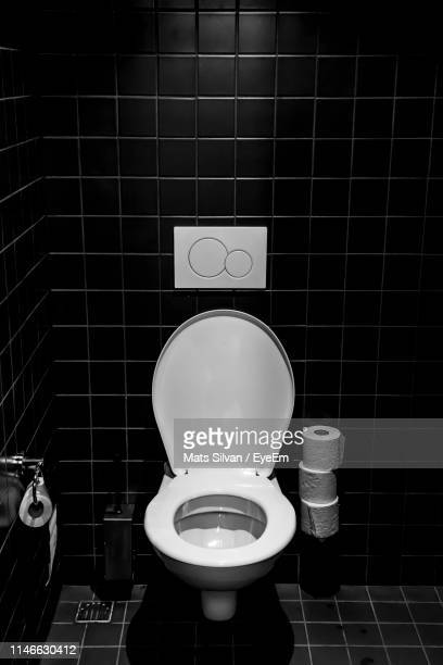high angle view of bathroom - toilet bowl stock photos and pictures