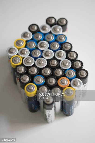 High angle view of batteries on white table