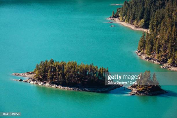 high angle view of bay against clear blue sky - diablo lake stock photos and pictures