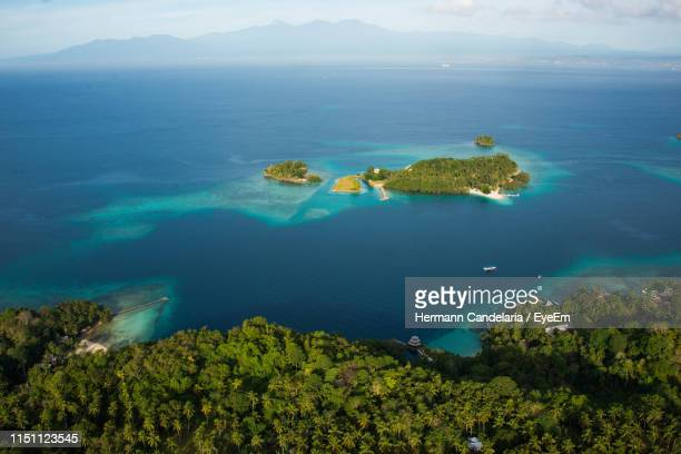 high angle view of bay against clear sky - davao city stock photos and pictures
