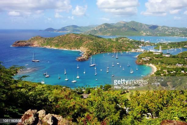 high angle view of bay against sky - sint maarten caraïbisch eiland stockfoto's en -beelden