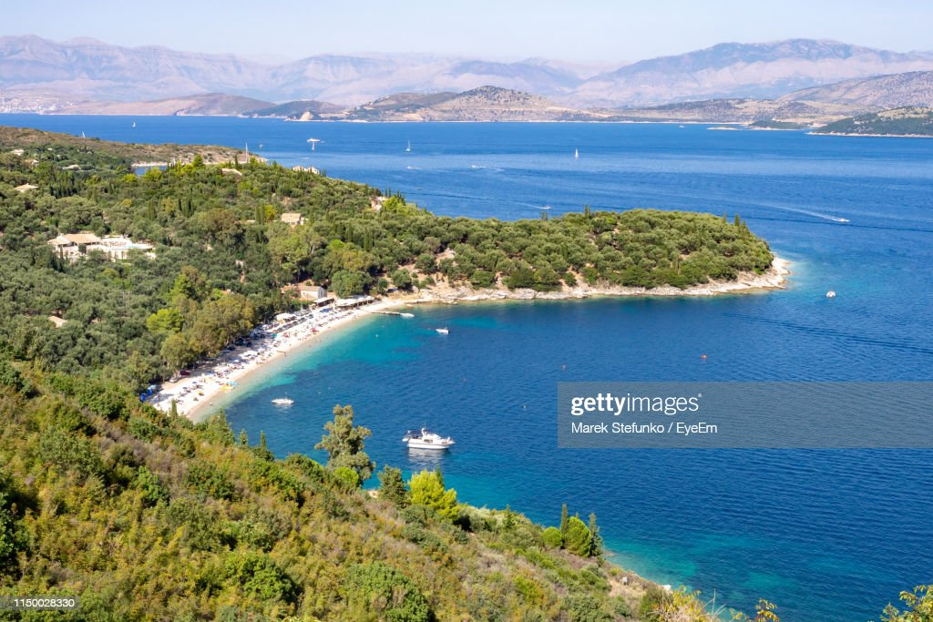 High Angle View Of Bay Against Sky : Stock Photo