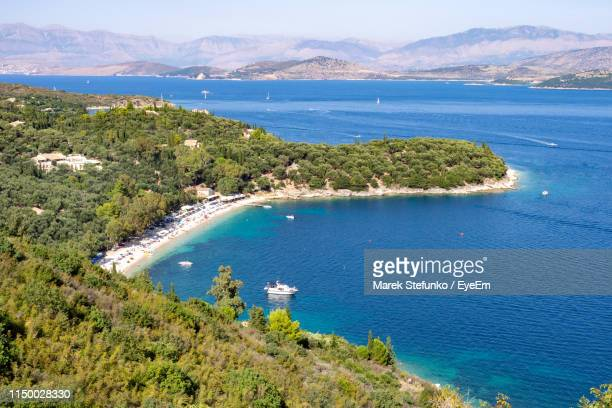 high angle view of bay against sky - marek stefunko stock pictures, royalty-free photos & images