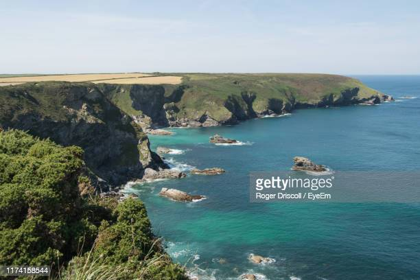 high angle view of bay against sky - st. ives cornwall stock pictures, royalty-free photos & images